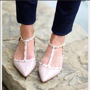 Halogen Olson Pointy Toe Studded T-Strap Flats